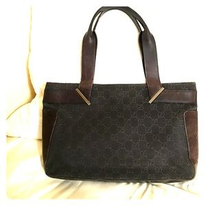 d47b1cf0c71041 Gucci. Gucci Vintage Chocolate Brown GG & Leather Tote